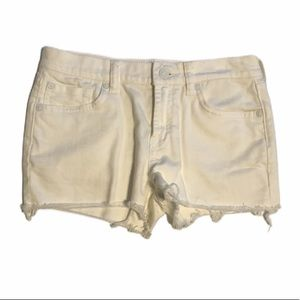 7FAM Girls Distressed White Jean Shorts Size 14